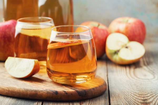 Organic Apple Cider Juice Wooden Table Two Glasses With Drink Autumn Leaves Rustic Background 79782 544 9